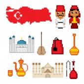 Turkey culture symbol set Pixel art