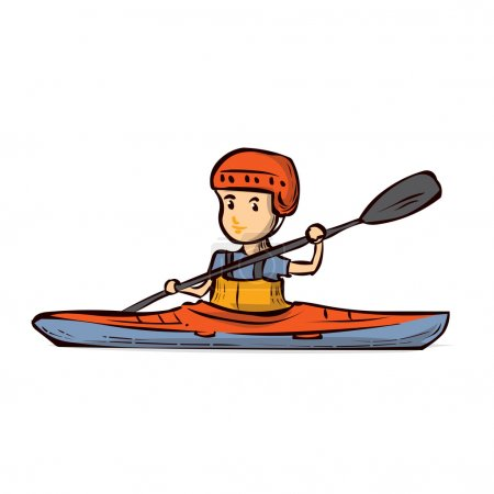 A young man in a kayak.