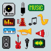 Music icons set Pixel art