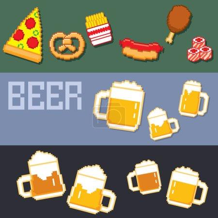 beer and snacks banner pixel set.