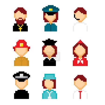 Illustration pour Icônes de pixels de profession définies. Vieux style informatique graphique de l'école - image libre de droit