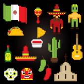 Mexico culture symbols icons set Pixel art Old school computer graphic style