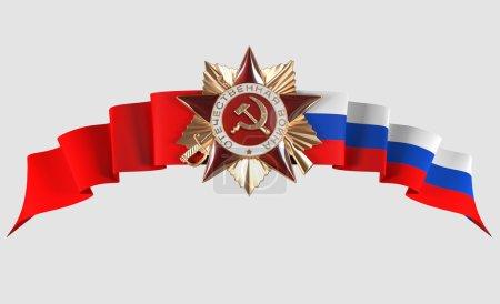 Photo pour Vacances - 9 mai, jour de la victoire. Victory Star de la grande guerre patriotique dans le fond et rouge drapeau russe, isolé - image libre de droit