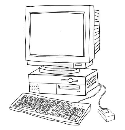 ordenador viejo escritorio lindo línea arte ilustración