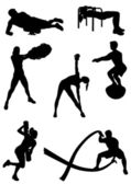 Healthy fit people practicing Functional Fitness exercises with diverse equipment made in abstract black shapes