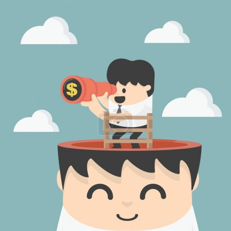 Illustration for Businessman holding binoculars Looking for money - Royalty Free Image