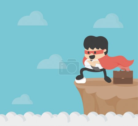 Illustration for Super businessman on precipice - Royalty Free Image