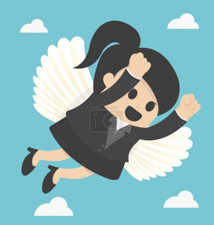 Business Woman flying freedom