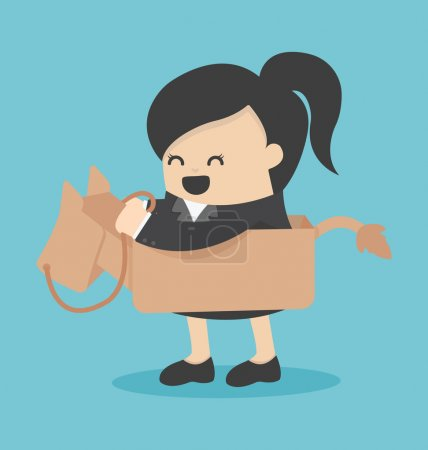 Business woman riding the toy horse