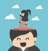 Business Woman Cartoons concepts Foresightprudentlong-headed