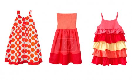 Kid's summer red dresses collage.Isolated.