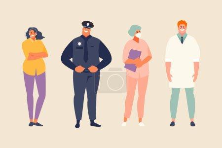 Photo pour Professions actuelles et importantes que les gens établissent. Illustration vectorielle de la fête du travail - image libre de droit