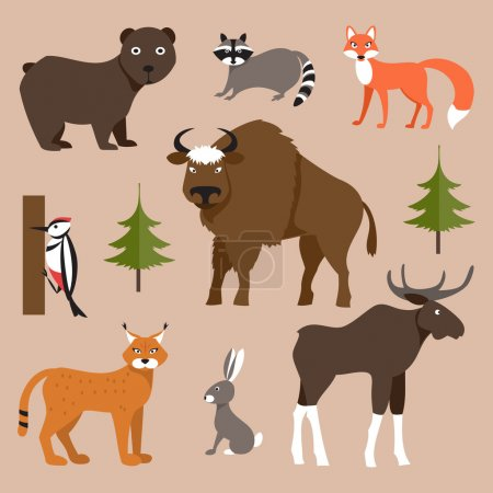 Illustration pour Vector collection of icons and illustrations forest animals - image libre de droit