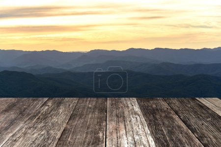 Old vintage wood terrace with mountain view