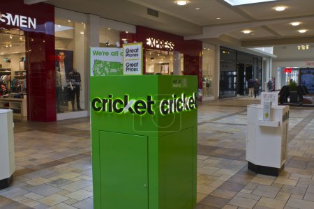 Indianapolis - Circa February 2016: Cricket Wireless Kiosk. Cricket Wireless is a Provider of Prepaid Mobile Phones and Plans I