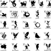 Alphabet with silhouettes of mythical creatures