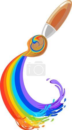 Illustration for Brush and rainbow - Royalty Free Image