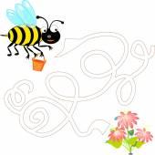 Cute bee flies to collect pollen