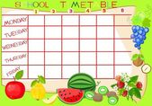 School timetable with fruit