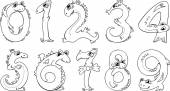 Cartoon numbers in form of animals set