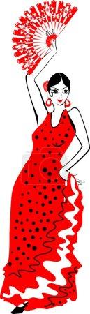 flamenco dancer in red dress with fan