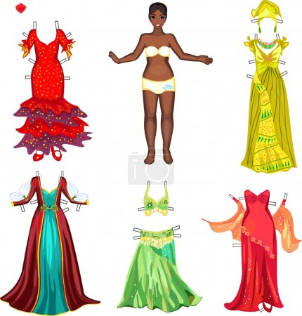 Girl with different dresses