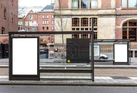 Photo for Blank billboard on a roadside in european town - Royalty Free Image
