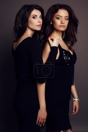 Beautiful charming girls with dark hair in elegant clothes