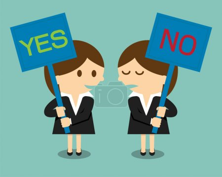 Businesswoman holding a signboard with the word yes or no written in it