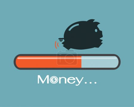 Piggy and progress loading bar, Saving money concept