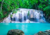 Waterfall in deep forest of Erawan National Park