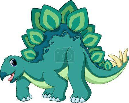 Cute stegosaurus cartoon on a white background...
