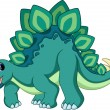 Cute stegosaurus cartoon on a white background...