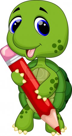 Illustration for Cute turtle with color pencil - Royalty Free Image