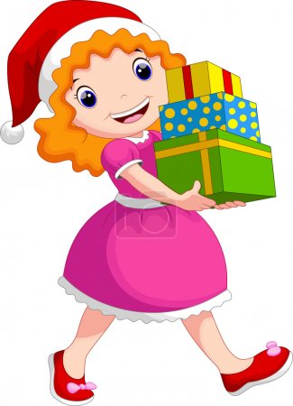 A girl wearing a Christmas hat holding a stack of gifts
