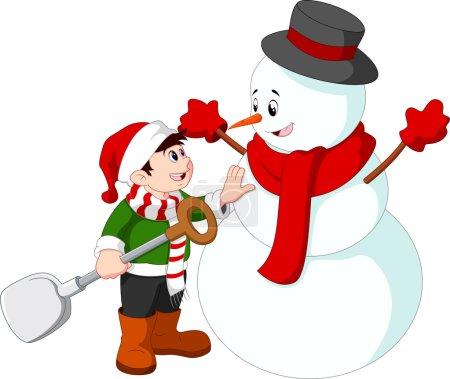 Illustration pour Petit enfant faisant un bonhomme de neige - image libre de droit