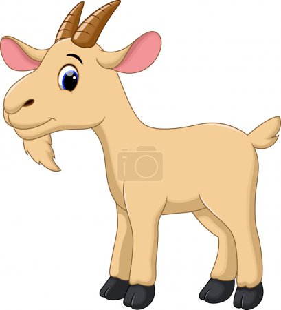 Illustration for Cute goat cartoon on a white background - Royalty Free Image