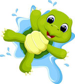 Turtle playing on the water