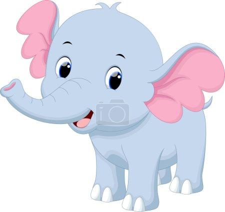 Illustration pour Illustration vectorielle de dessin animé mignon éléphant isolé sur fond blanc - image libre de droit