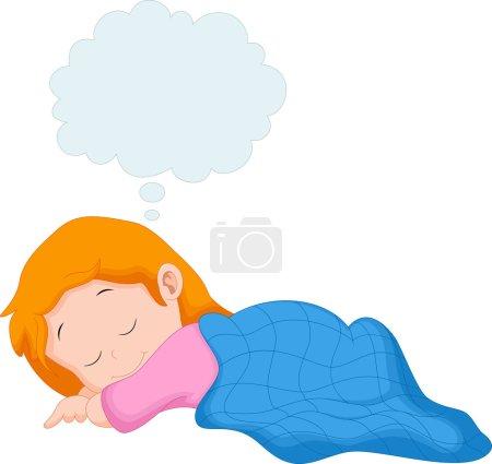 Illustration pour Une petite fille dormir et rêver - image libre de droit