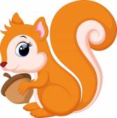 Vector illustration of Cute squirrel cartoon isolated on white background