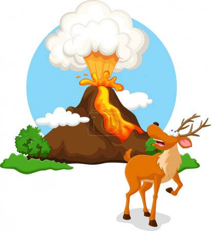Deer with background volcanoes