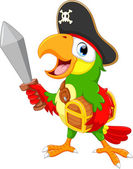 Vector illustration of pirate parrot holding a sword isolated on white background