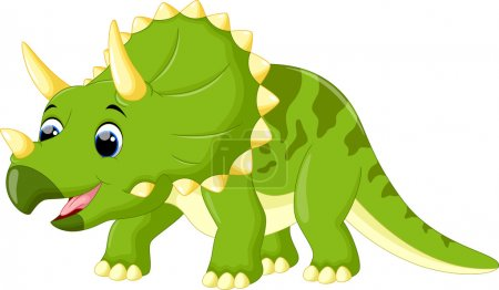 Vector illustration of cute triceratops cartoon is...