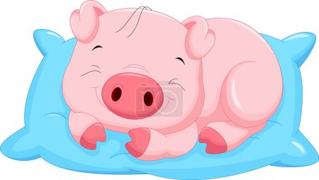 Cute cartoon baby pig sleeping
