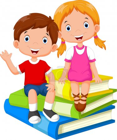 Children sitting on a pile of books