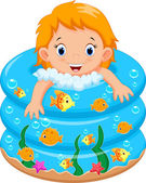 Vector illustration of baby girl bath in a bathtub with lot of soap