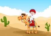 Vector illustration of Arab boy riding a camel in the desert