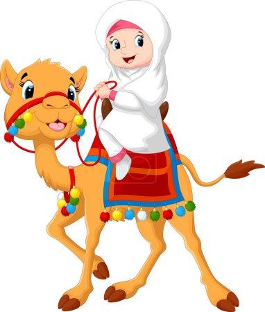 Illustration pour Illustration vectorielle de fille arabe chevauchant un chameau - image libre de droit