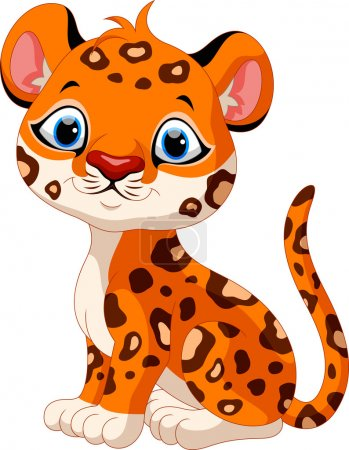 Cute baby leopard cartoon sitting